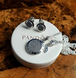 4c09a3ed2d0b2 Details about Authentic pandora signature set earrings,necklace and chain  925 w box..