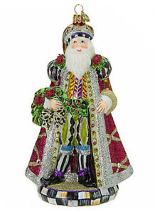 Mackenzie-Childs-MULBERRY-SANTA-w-Courtly-Check-Blown-Glass-ORNAMENT-NEW-m19-2