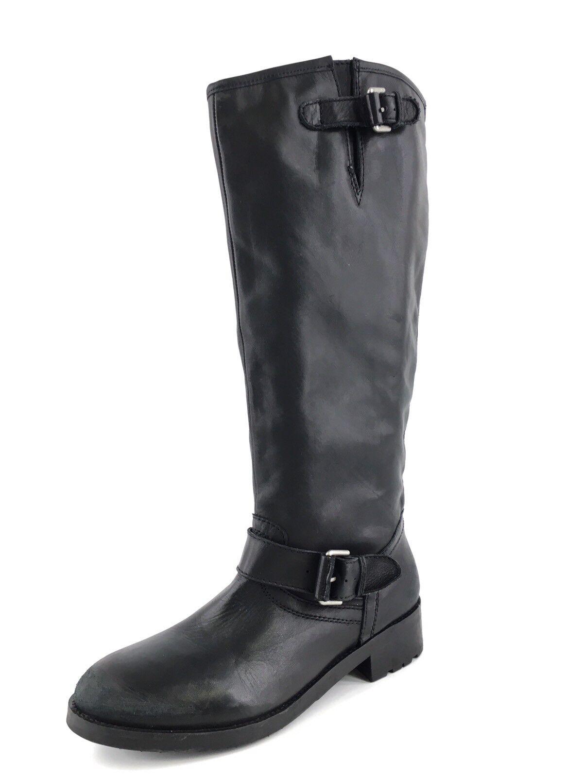 Kurt Geiger Black Leather Knee High Buckle Riding Boots Women's Size 42 M  550