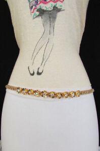 Mujer Angostas Metal Skinny Cadena Flores Cinturón de Moda Cadera Plateado