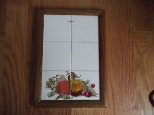 Details about Vintage Tile Note Memo Board Ceramic Tile Wood Frame - Fruits  - Kitchen