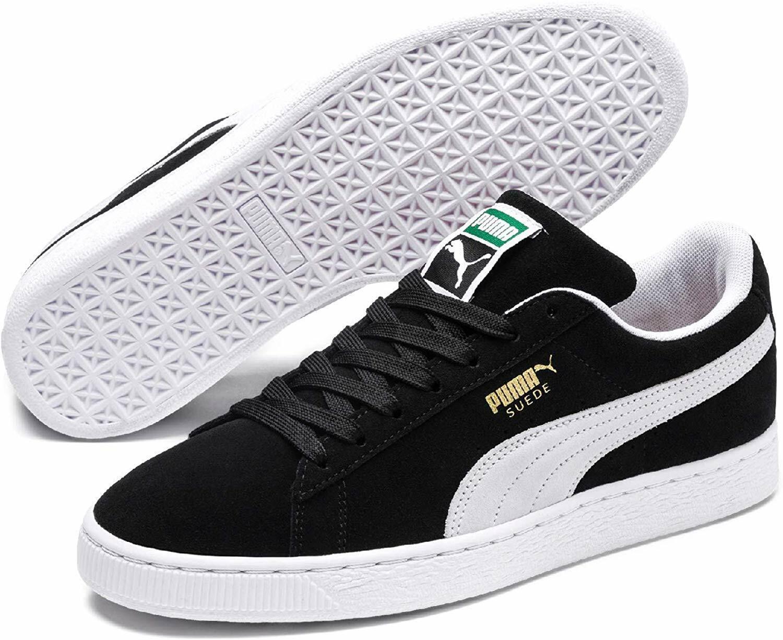 Free Shipping! PUMA Men's Suede Classic + Sneaker, Black/White, 352634-03