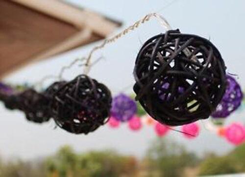 20 BLACK Wicker Cane Rattan LED Party 5cm Ball 2mtr battery wedding florist