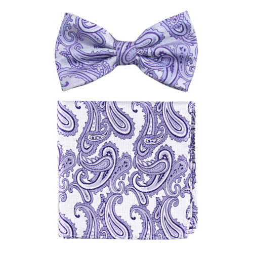 New formal Men/'s micro fiber Pre-tied Bow Tie /& Hankie lavender paisley