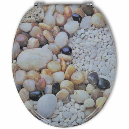vidaXL Tapa de WC Asiento Inodoro Taza de Agua Madera MDF Estampado de Piedras