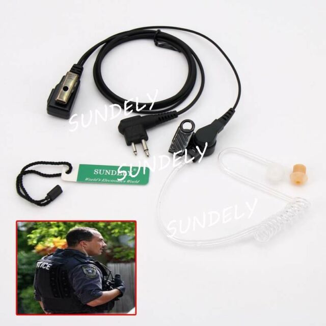 NEW! 2 PIN Covert Acoustic Earpiece MICotorola Radio CP88 CP040 GP68 SUNDELY