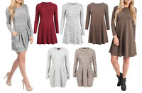 New Womens Flared Swing Dress Knitted Tulip Style Pocket Casual Party Dress Top