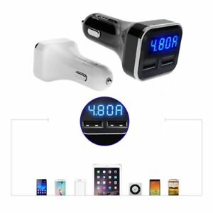 Dual-USB-Car-Cigarette-Charger-with-LED-Display-Volt-Amp-Meter-DC-4-8A-5V-G