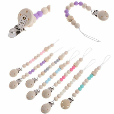 Baby Infant Toddler Wooden Dummy Pacifier Soother Nipple Chain Clip Holder Gift