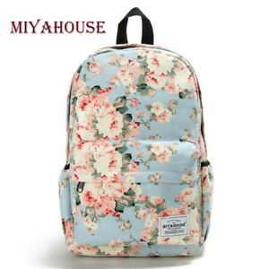 Women-Floral-Printed-Camping-Office-Laptop-Hiking-School-Canvas-Backpack-Bookbag