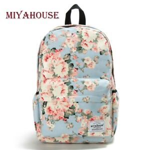 af4dbc5c976c Details about Women Floral Printed Camping Office Laptop Hiking School  Canvas Backpack Bookbag