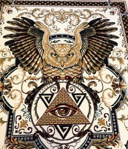 Masonic Woven Area Rug Freemason Illuminati Ring Owl