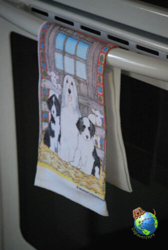 Bearded Collie Kitchen Hand Towel