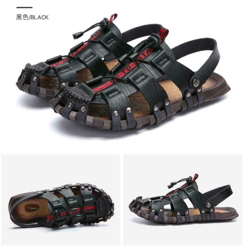 Mens leather Summer Beach Casual Close Toe Slippers Sandals Breathable shoes New