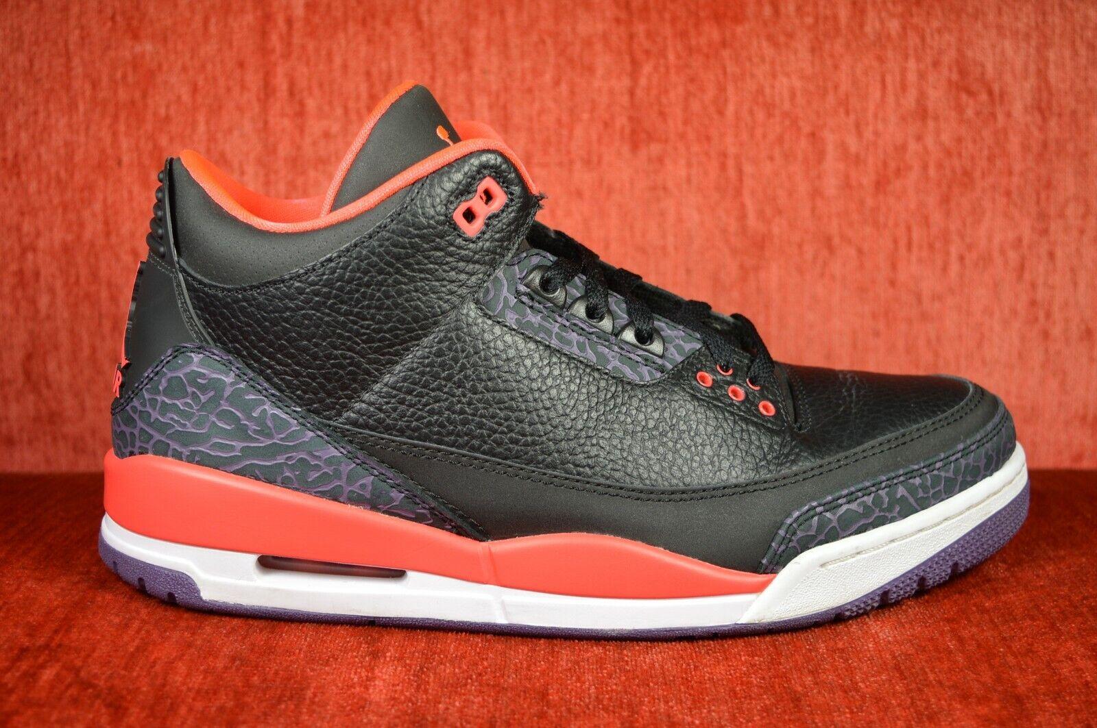 CLEAN Air Jordan Jordan Jordan 3 Retro nero Bright Crimson viola Dimensione 11 2012 136064 005 a8b3c4