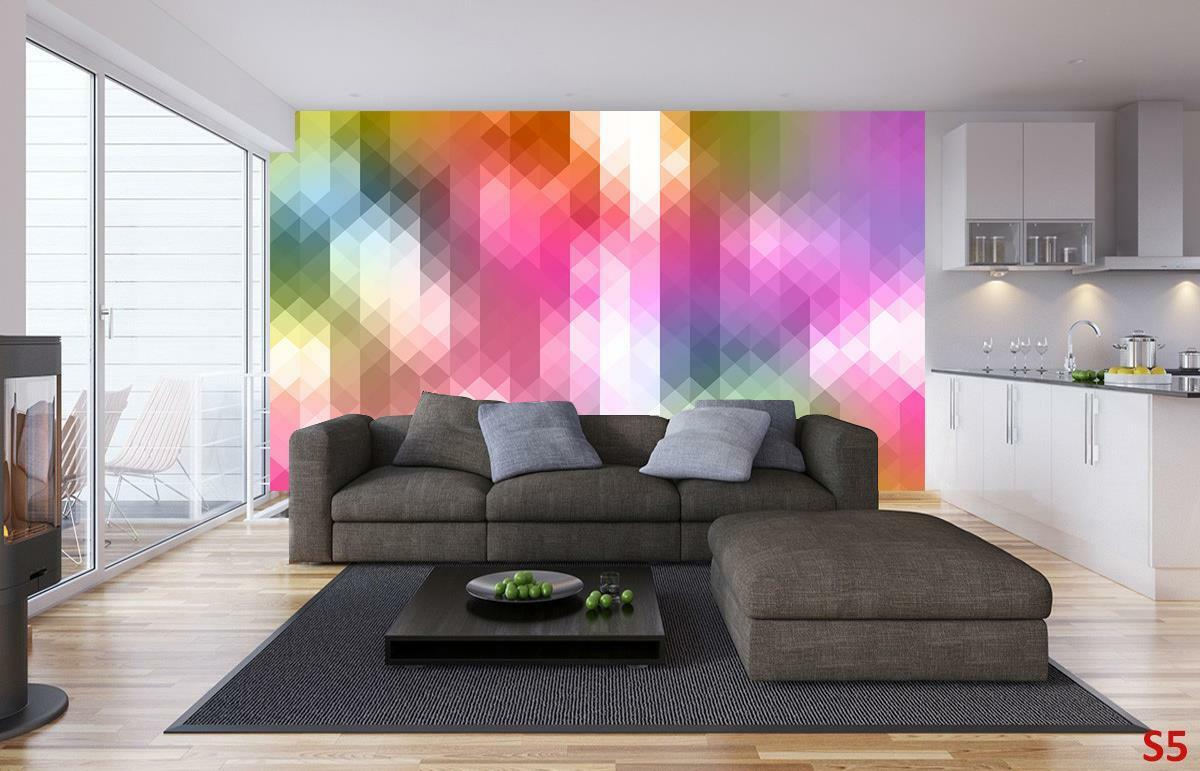 Farbeful Triangles Pattern Wallpaper Woven Self-Adhesive Wall Mural Decal M218