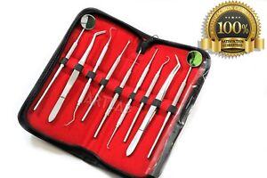 Set 9-Premium Deutsche Scaler Pick Zange, Schaber, Probe, Dental Spiegel, etc