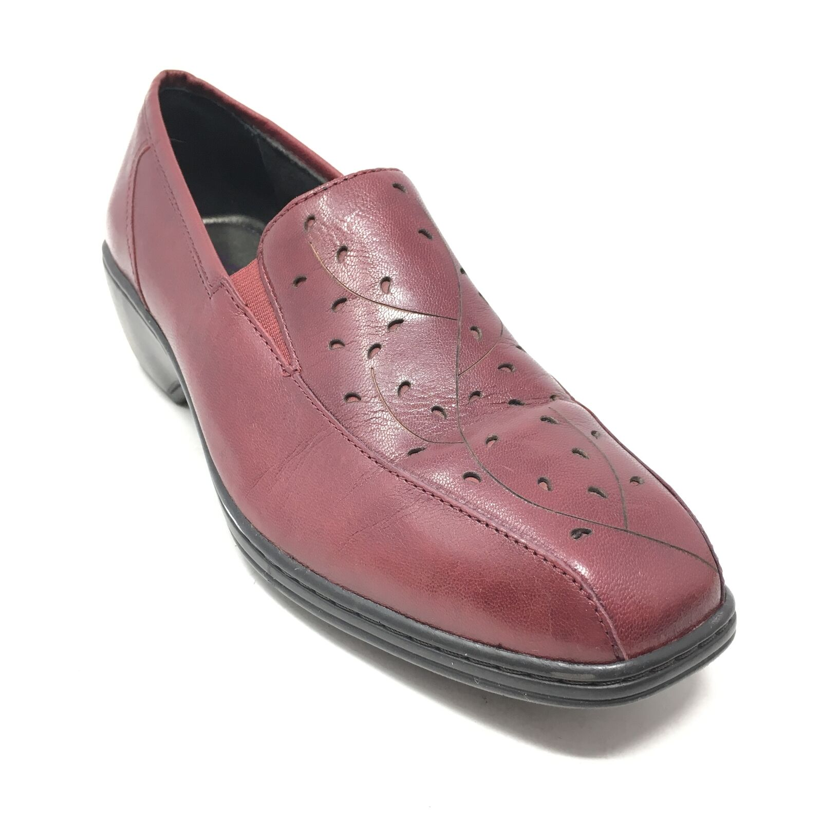Women's Aravon Kiley Clogs Loafers Shoes Size 8.5 Burgundy Leather Casual E2
