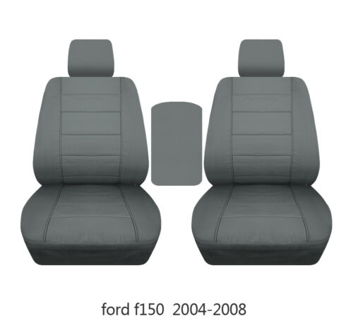 Fit Ford f150 1999-2014 car seat covers steel gray fr bucket seats+lid cover