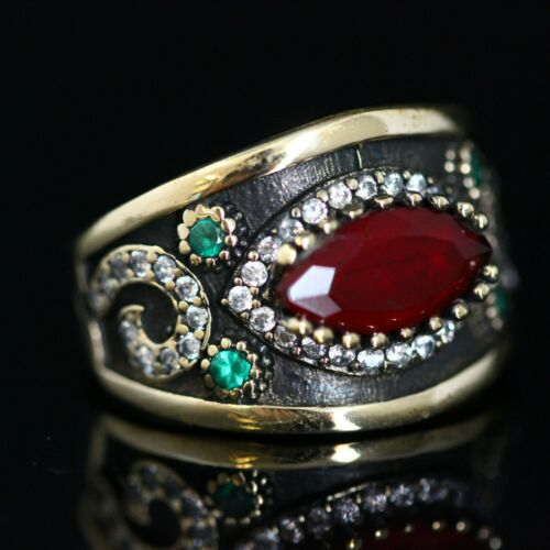 925 Sterling Silver Handmade Gemstone Turkish Ruby Ladies Ring Size 7-12