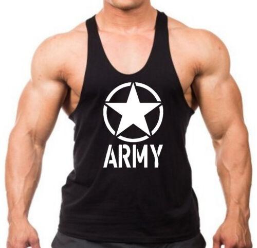 New Men/'s Army Circle Star Stringer Tank Top Shirt US Military Muscle Tee V120
