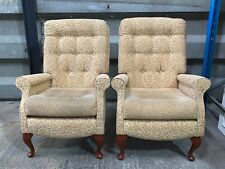 Pair of 2x vintage upholstered easy chair lounge armchairs in a Queen Anne style