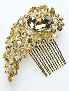 Gold Colour Bridal Bridesmaid Wedding Hair Comb Clip Rhinestone Diamante Prom
