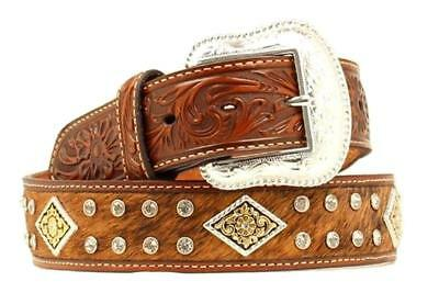 Nocona Western Mens Belt Leather Scallop Hair Crystals Brown N2494408