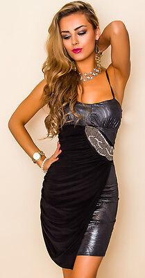 PROGRESS Kleid Abendkleid Partykleid mit Strass Perlen silber schwarz Gr. L