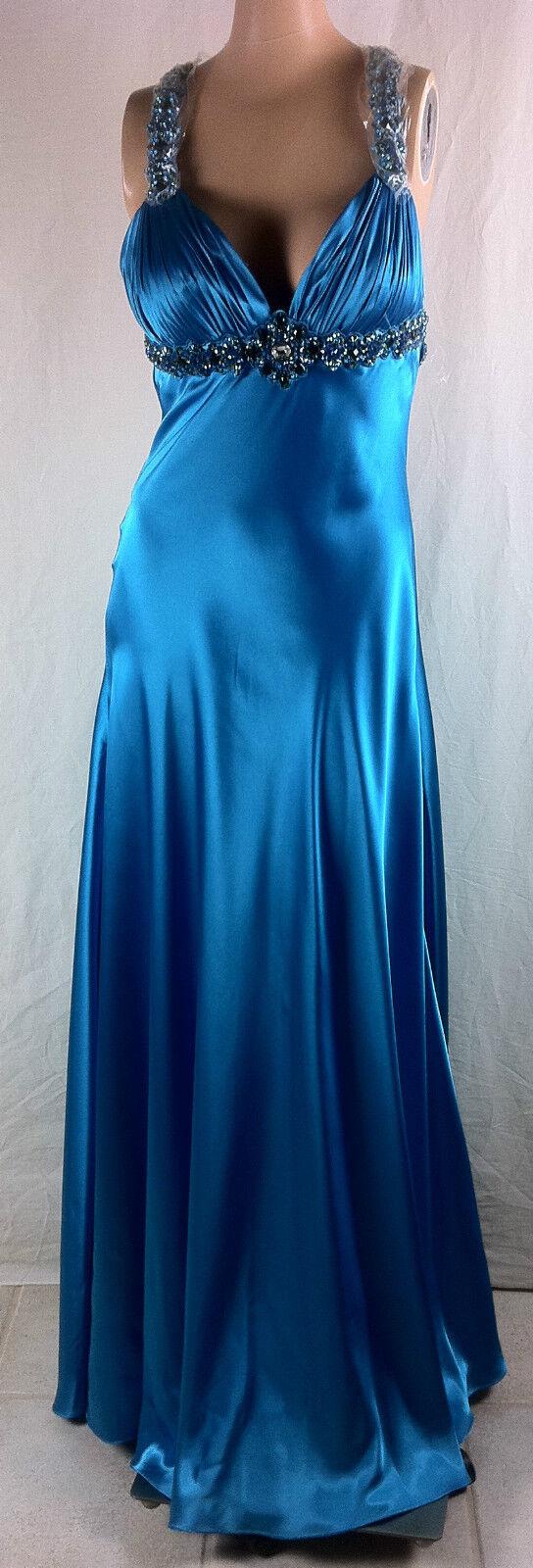 New Womens Shimmer by Bari Jay Gem Stones Straps Empire Waist Gown Dress SZ 6