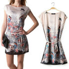 2014 Chic Spring NEW Europe Vintage Floral Flying Bird Animal Dress Party Gown