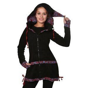 f72ffde43bd4ec Kunst und Magie Damen Mantel aus Fleece mit abnehmbarer Zipfelkapuze ...