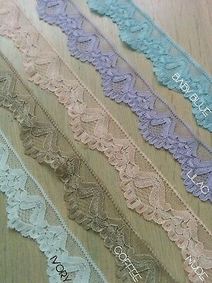 1 Metre Width: 7.5 cm Beautiful Peachy Nude//Ivory Floral Soft Corded Stretch Lace Trim Edging