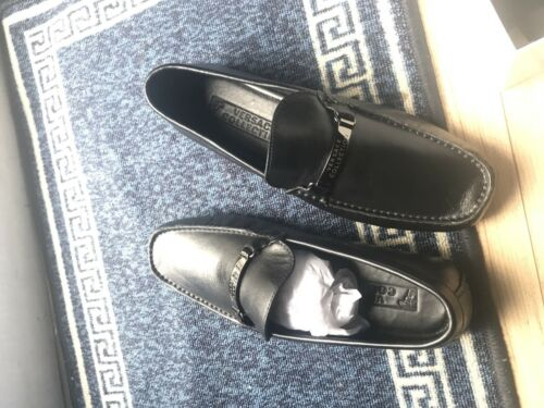 Driving 7 Uk Loafers Black Shoes Versace Leather YTBqtnnZ