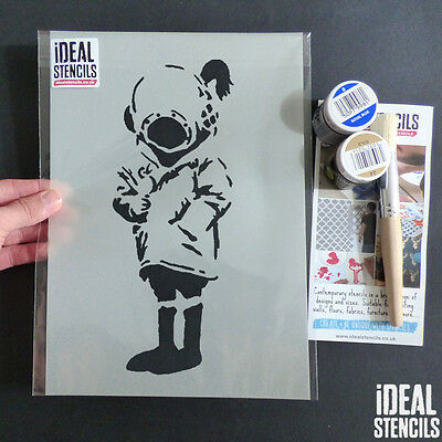 Banksy Stencils Girl & Bird Reusable Quality Cut Home Decor Paint Ideal Stencils