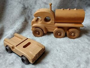 Wooden Car and Truck Toy With Rolling Wheels Wood