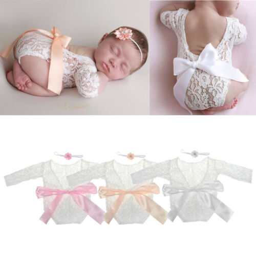 1 Set Photography Props Newborn Baby Girl Lace Romper Infant Photo Shoot Clothes