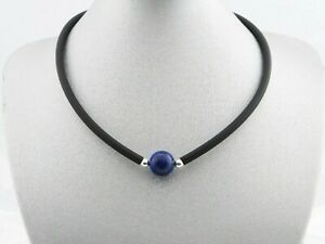 Kautschuk schwarze Kette Halskette Collier Lapislazuli Perle blaue Silber Damen