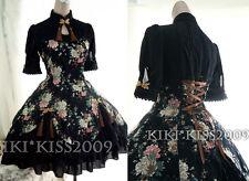 China Gothic Waloli Chipao Lolita Black Flower Kimono Cotten Dress Cosplay