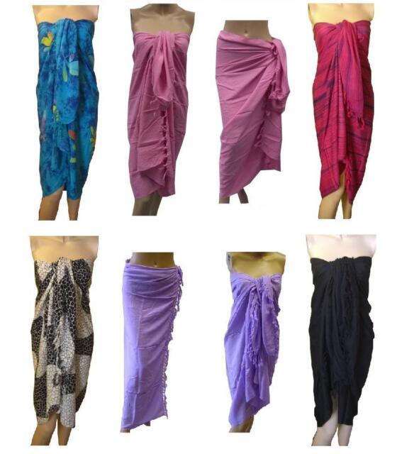 Long Sarong / Wrap / Beach Cover Up, inc Plain Black, Purple, Navy, Pink, Blue