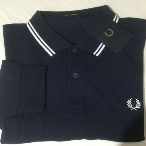 """Mens Genuine Fred Perry long sleeved polo top blue XXL 49-50""""chest approx"""