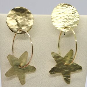 DROP-EARRINGS-YELLOW-GOLD-750-18K-DISCS-AND-STARS-HAMMERED