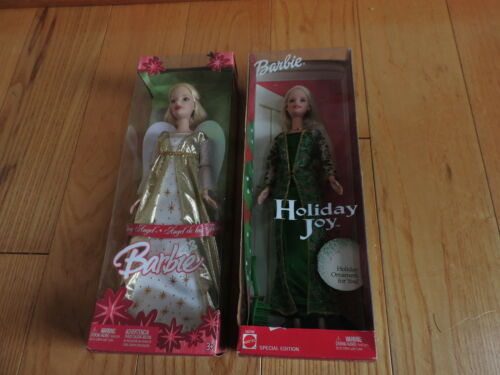 2 Barbie Dolls Christmas Holiday Angel Joy MIB New Mattel e59