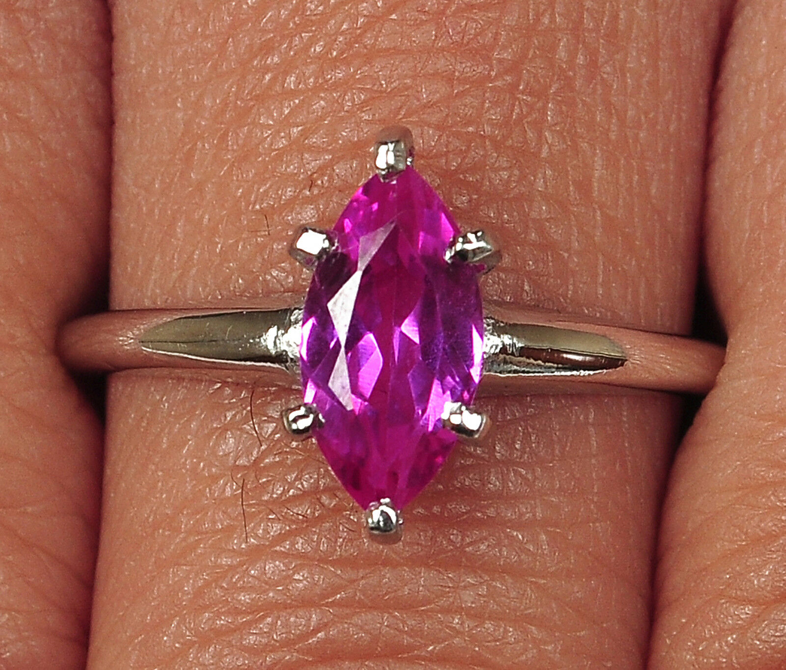 1.30CT 14KT White gold Marquise Shape Natural Pink Tourmaline Anniversary Ring