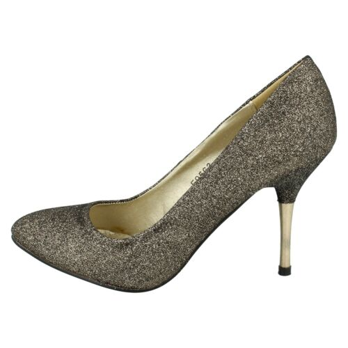 SALE LADIES SPOT ON F9563 BLACK GOLD SMART PARTY HIGH HEEL EVENING COURT SHOES