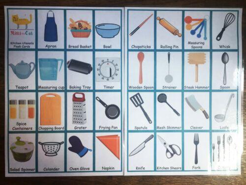 31 Kitchen Utensils Flash Card Set School Educational Image Word Kids Children