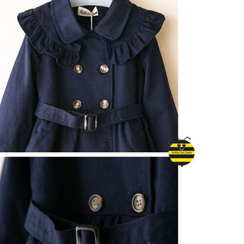 Ragazze intelligenti di buona qualità Navy Cappotto di tendenza con fodera in corrispondenza 2-7y