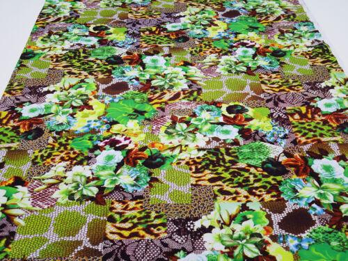 Stoff Viskose Jersey Blumen Abstrakt grün gelb braun blau bunt Kleiderstoff