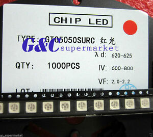 50pcs-SMD-SMT-5050-Super-bright-RED-LED-lamp-Bulb-GOOD-QUALITY-600-800MCD
