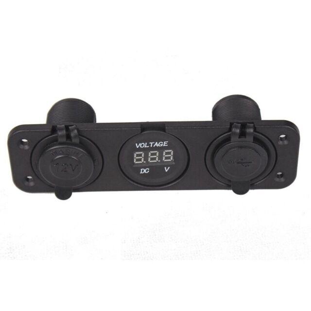 Triple 3.1 Amp USB Charger + Voltmeter +12 V Socket Panel Marine Outlet Jac C1D3